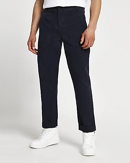 Navy slim fit worker trousers