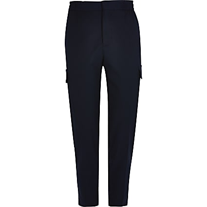 Navy smart cargo jogger trousers