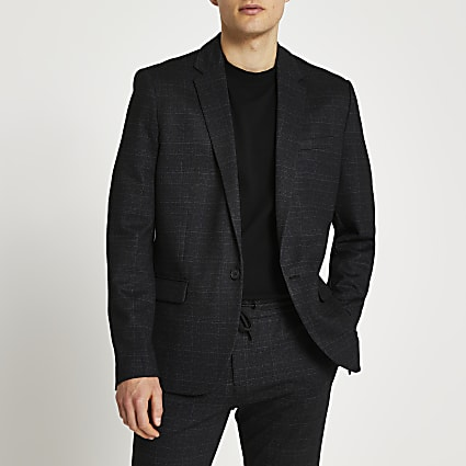 Navy speckled check blazer