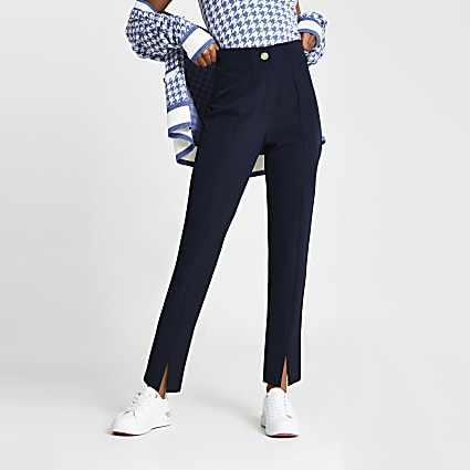 Navy split front cigarette trousers