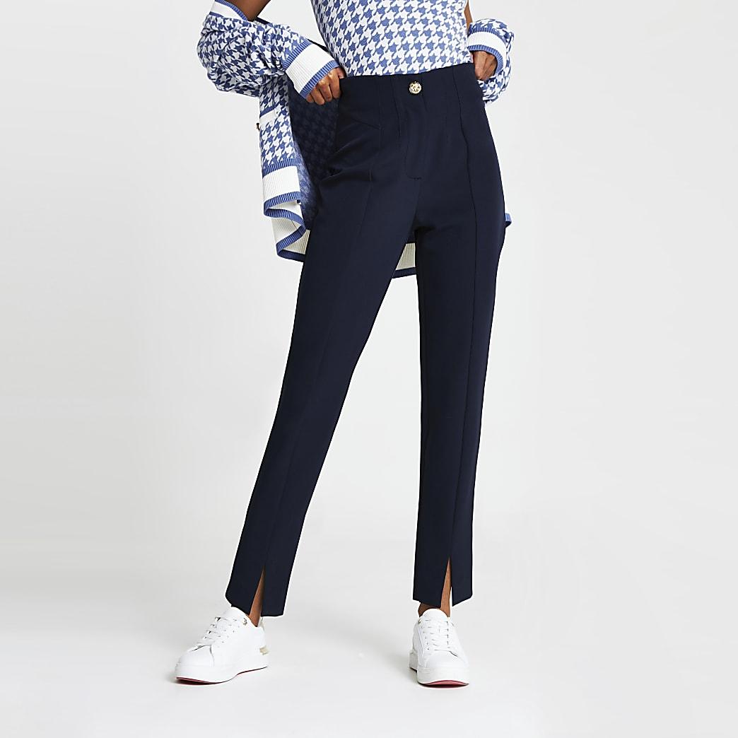 Navy split front cigarette trousers