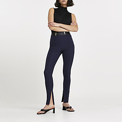 Navy split hem skinny trousers