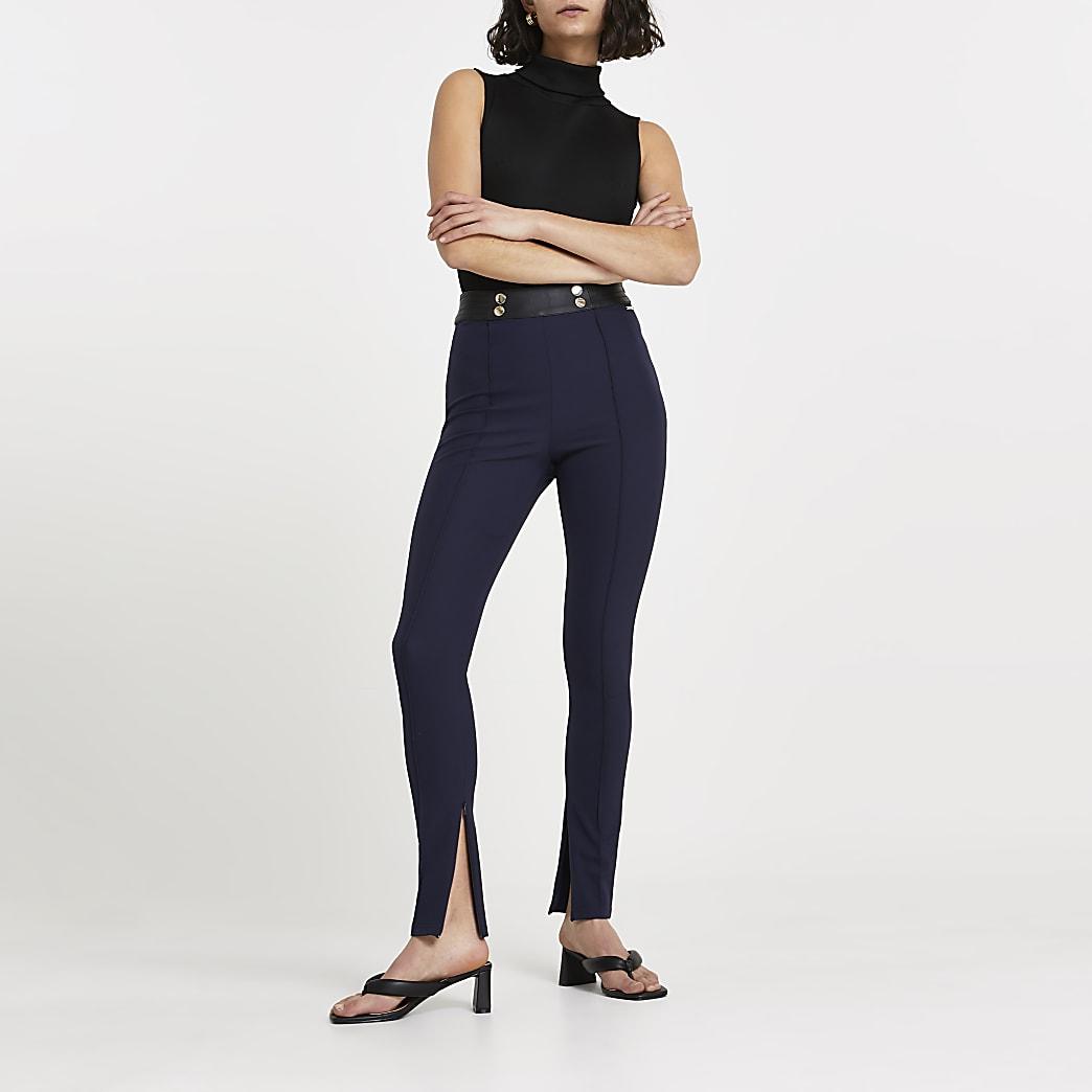 Navy split hem skinny trousers