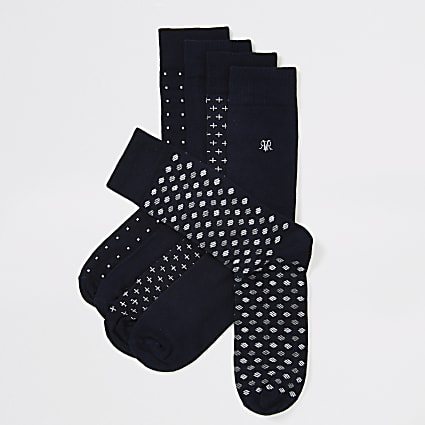 Navy spot print RVR embroidered sock 5 pack