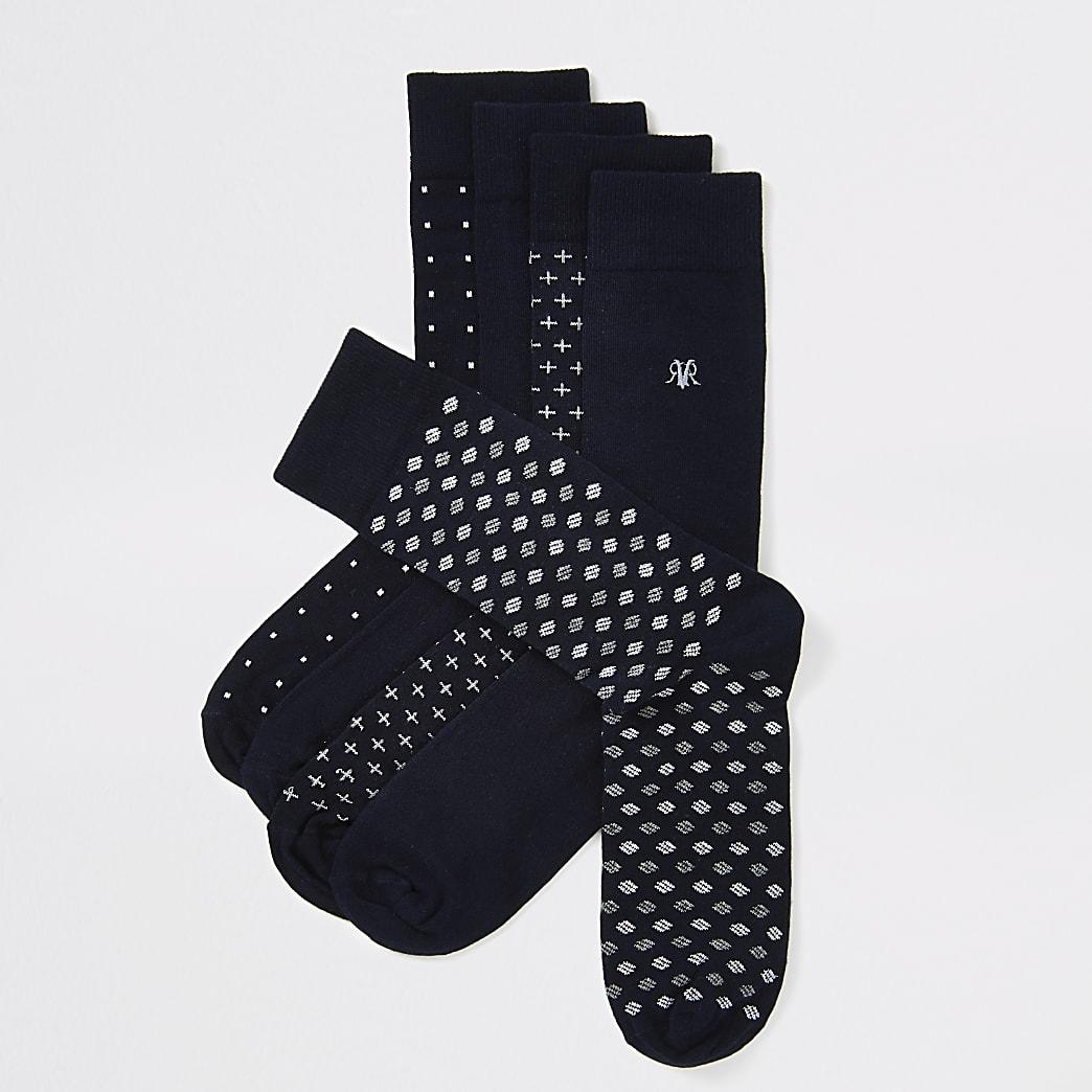 Navy spot print RVR embroidered sock 5 pack