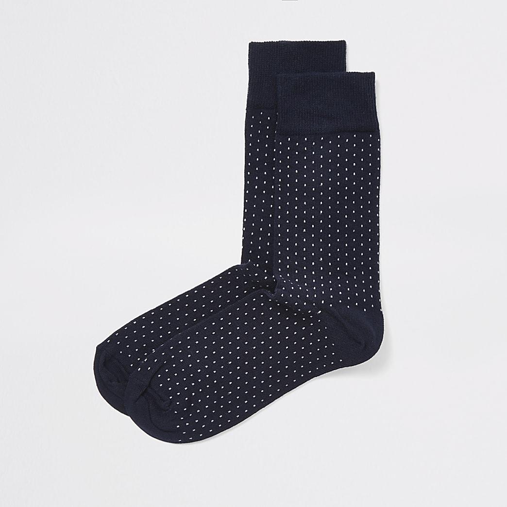 Marineblauwe sokken met stippenprint