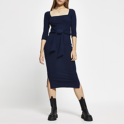 Navy square neck knot waist dress