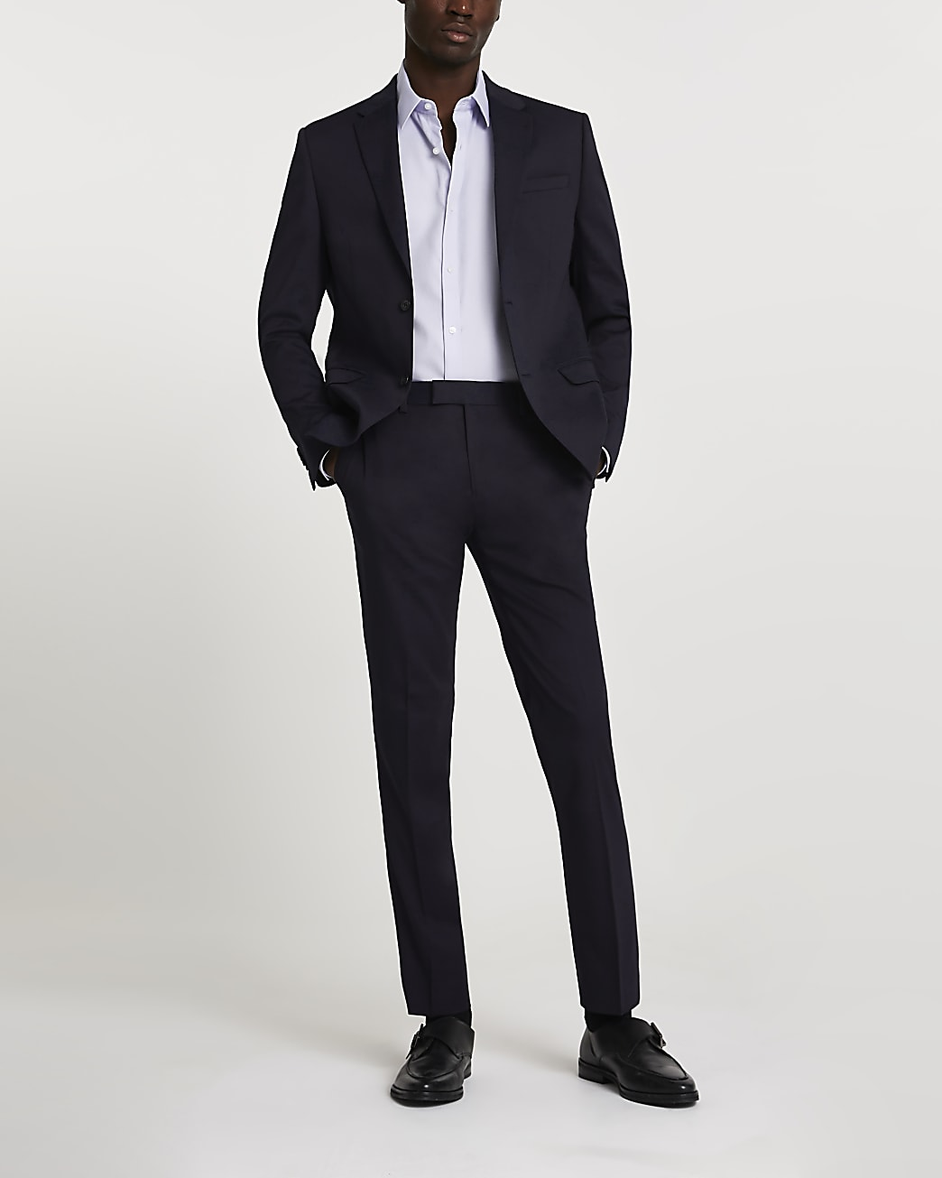 Navy stretch skinny suit trousers