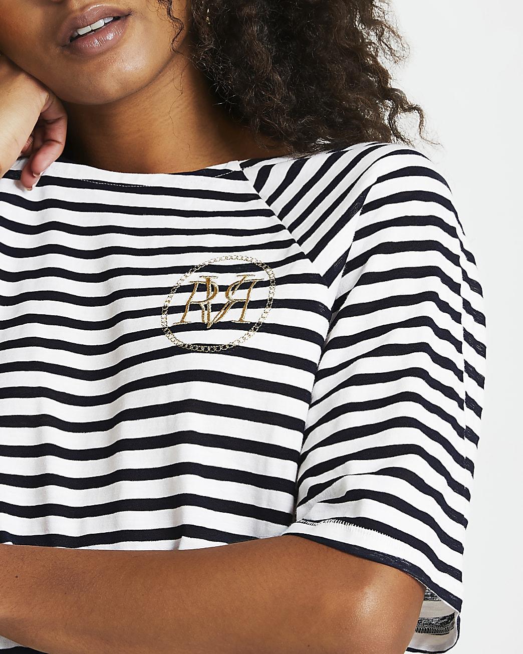 Navy stripe boxy fit t-shirt