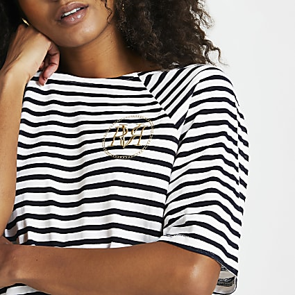Navy stripe boxy fit t-shirt