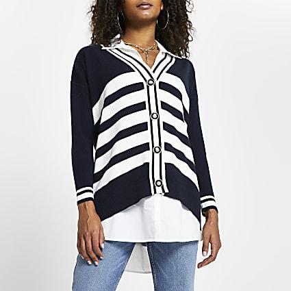 Navy stripe button up jumper