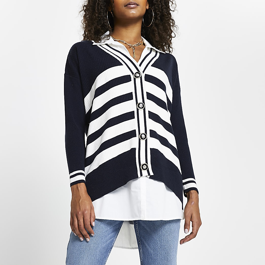 Navy stripe button up jumper