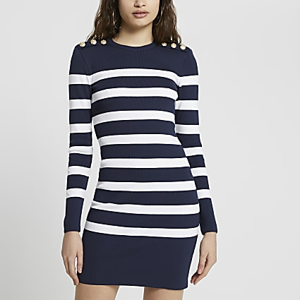 Navy stripe gold button shoulder dress