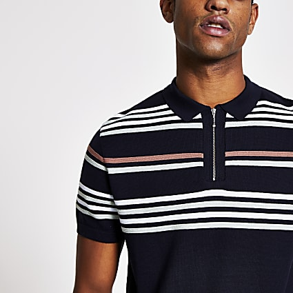 Navy stripe half zip slim fit knit polo top