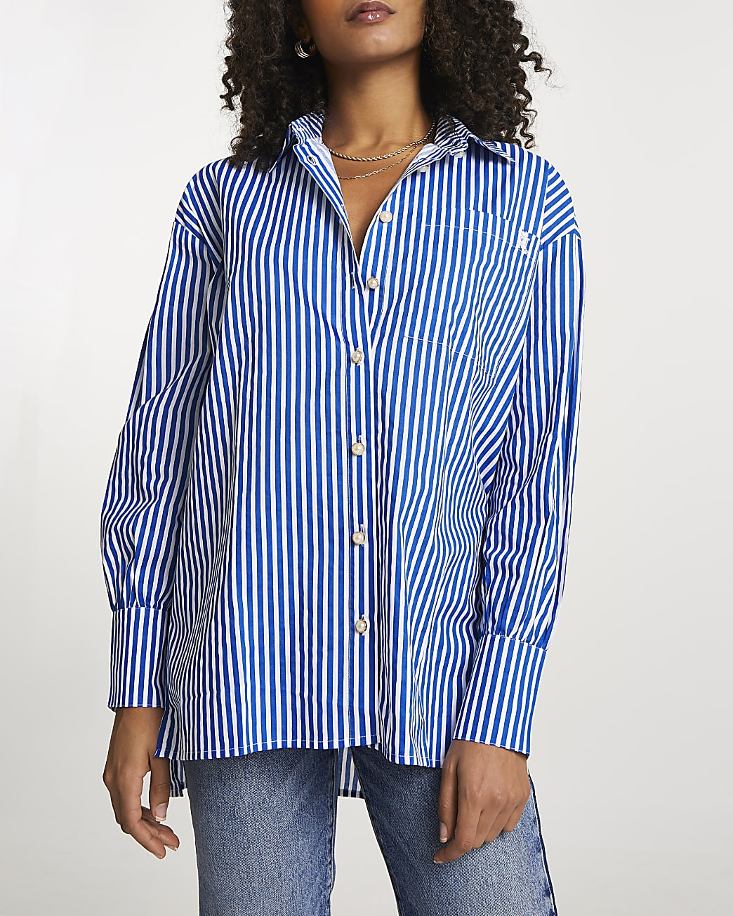 Navy stripe long sleeve boyfriend shirt