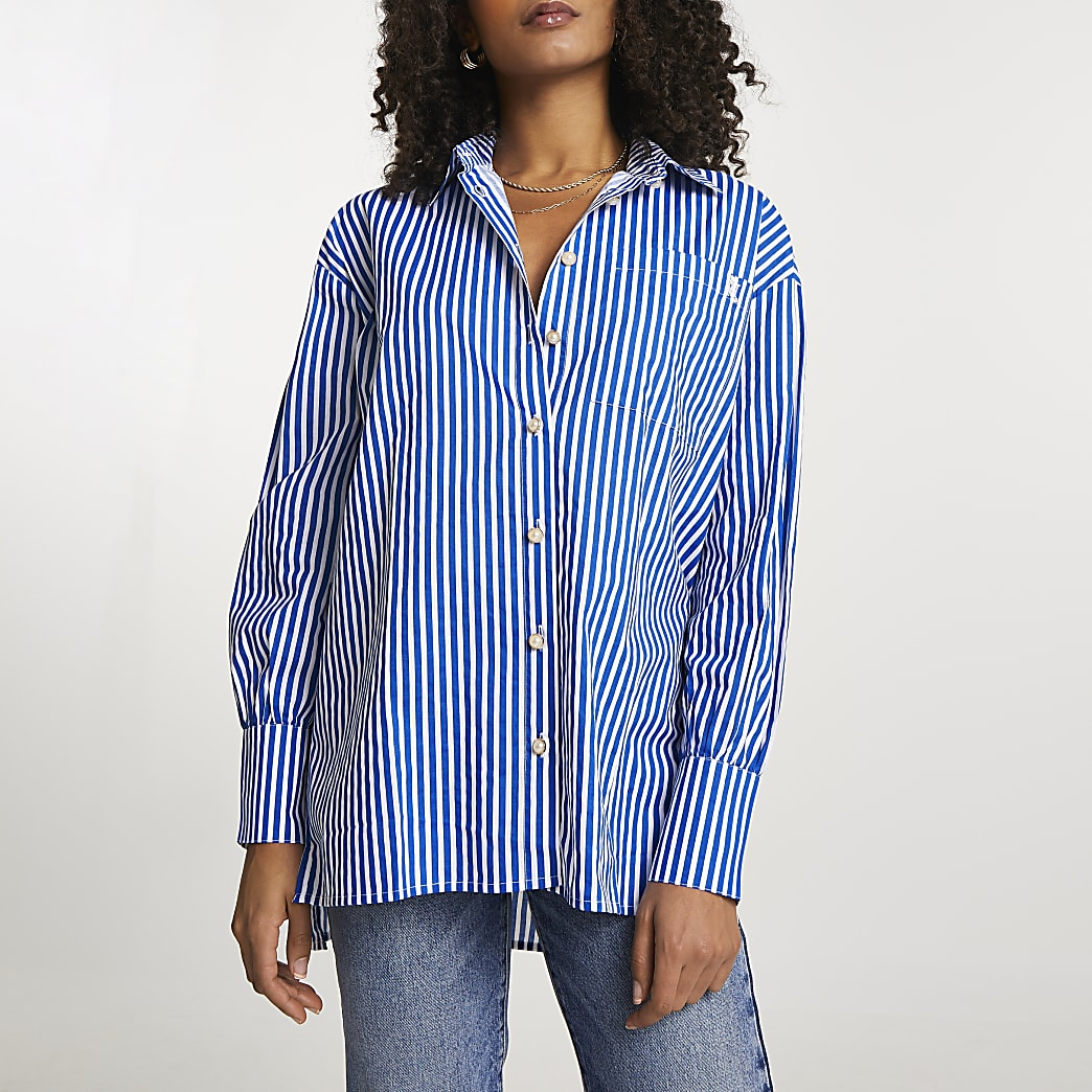 Navy stripe long sleeve boyfriend shirt