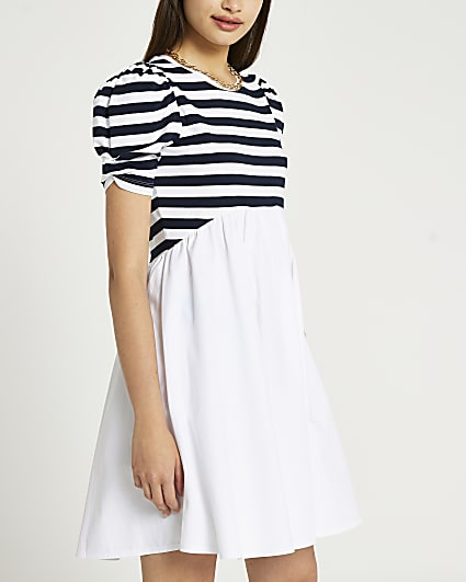 Navy stripe mini dress