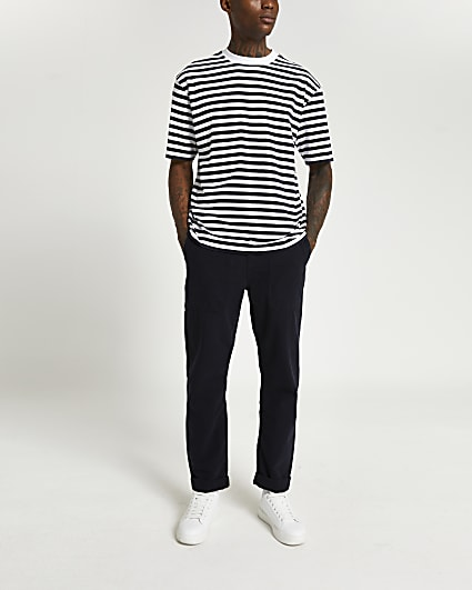 Navy stripe oversized fit t-shirt