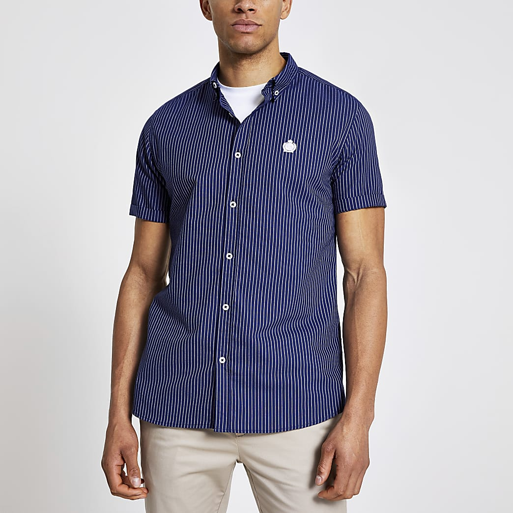 Navy stripe RI crest slim fit shirt