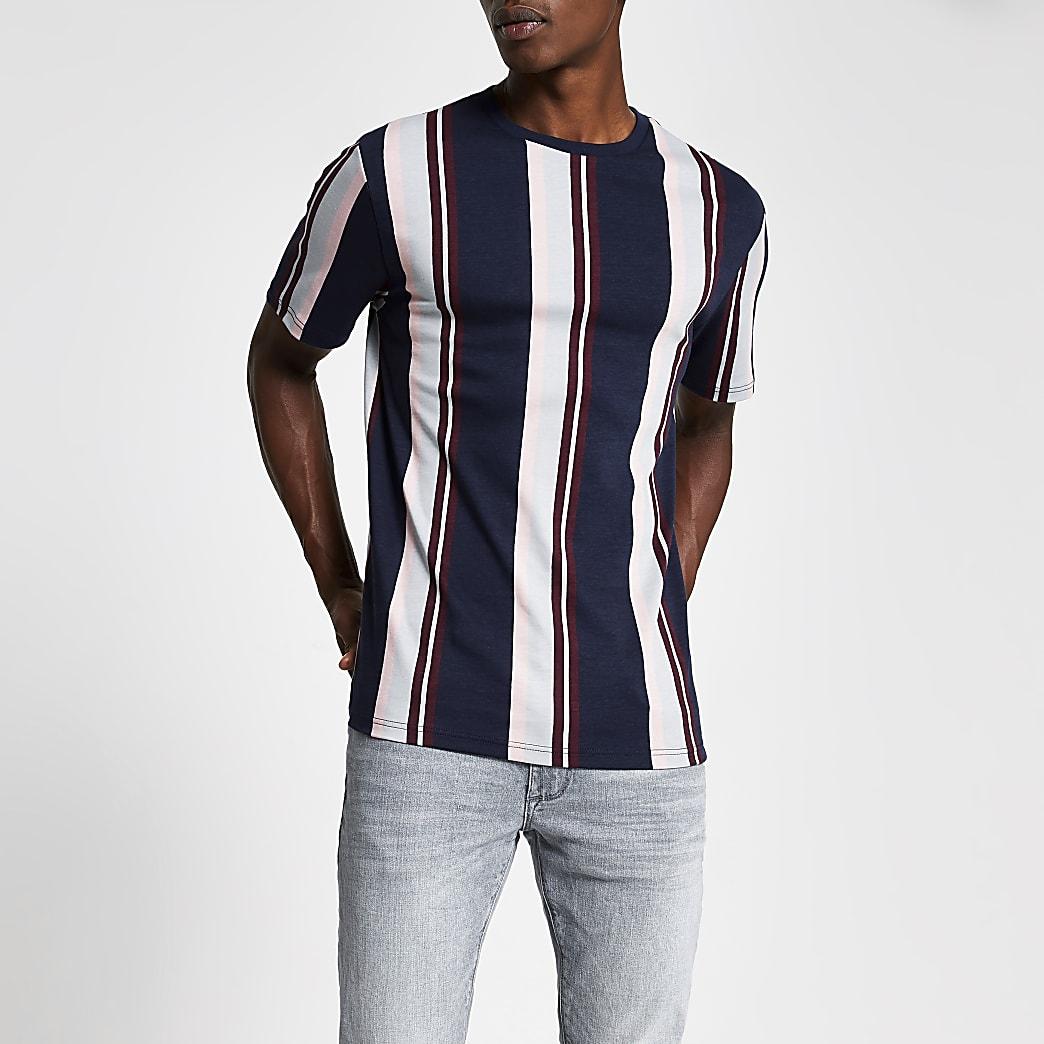 T-shirt rayé bleu marine à manches courtes