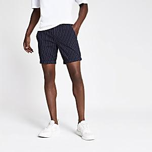 Marineblaue Skinny Fit Shorts mit Streifen