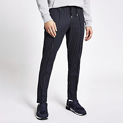 Navy stripe skinny fit smart joggers