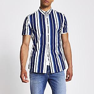 Marineblauw gestreept slim-fit overhemd met korte mouwen