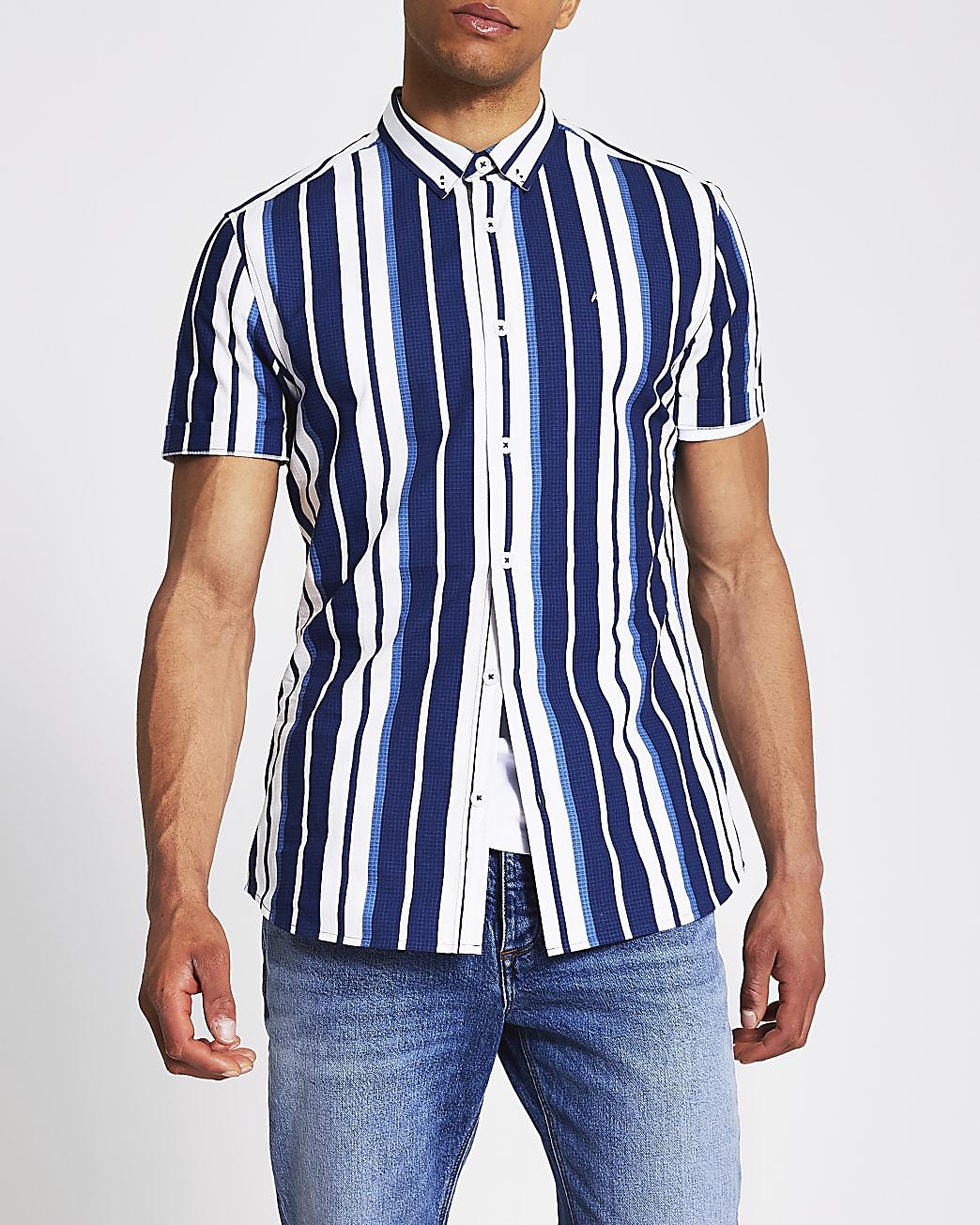 Navy stripe slim fit short sleeve shirt