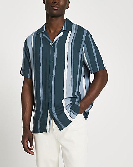 Navy stripe slim short sleeve revere shirt