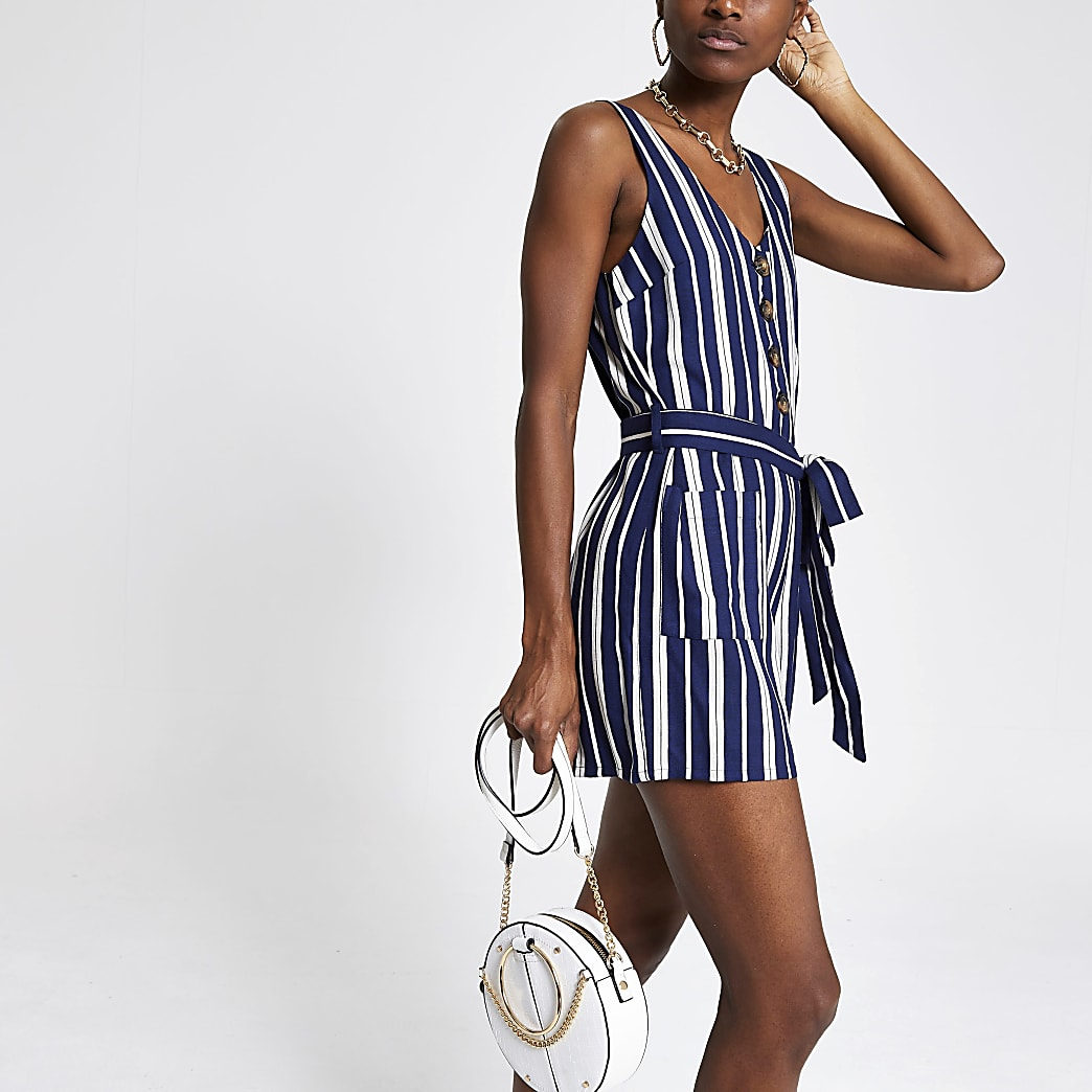Navy stripe tie waist playsuit