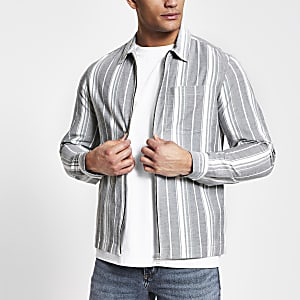 Navy stripe zip front overshirt