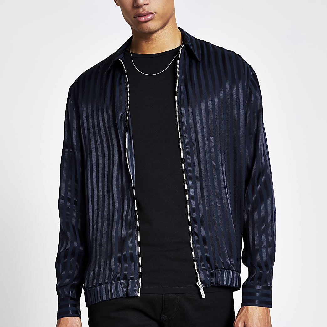 Navy stripe zip through regular fit shirt