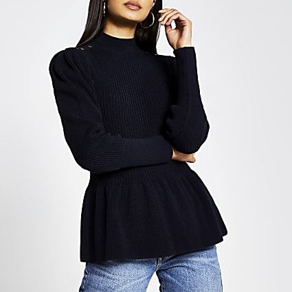 Navy structured peplum jumper