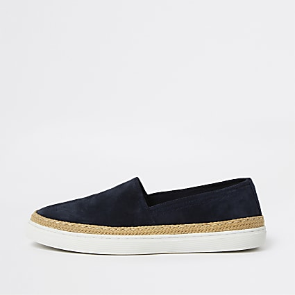 Navy suede contrast sole loafer shoes