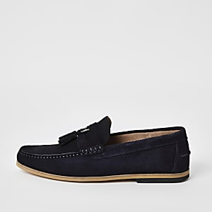 Navy suede D-ring tassel loafers