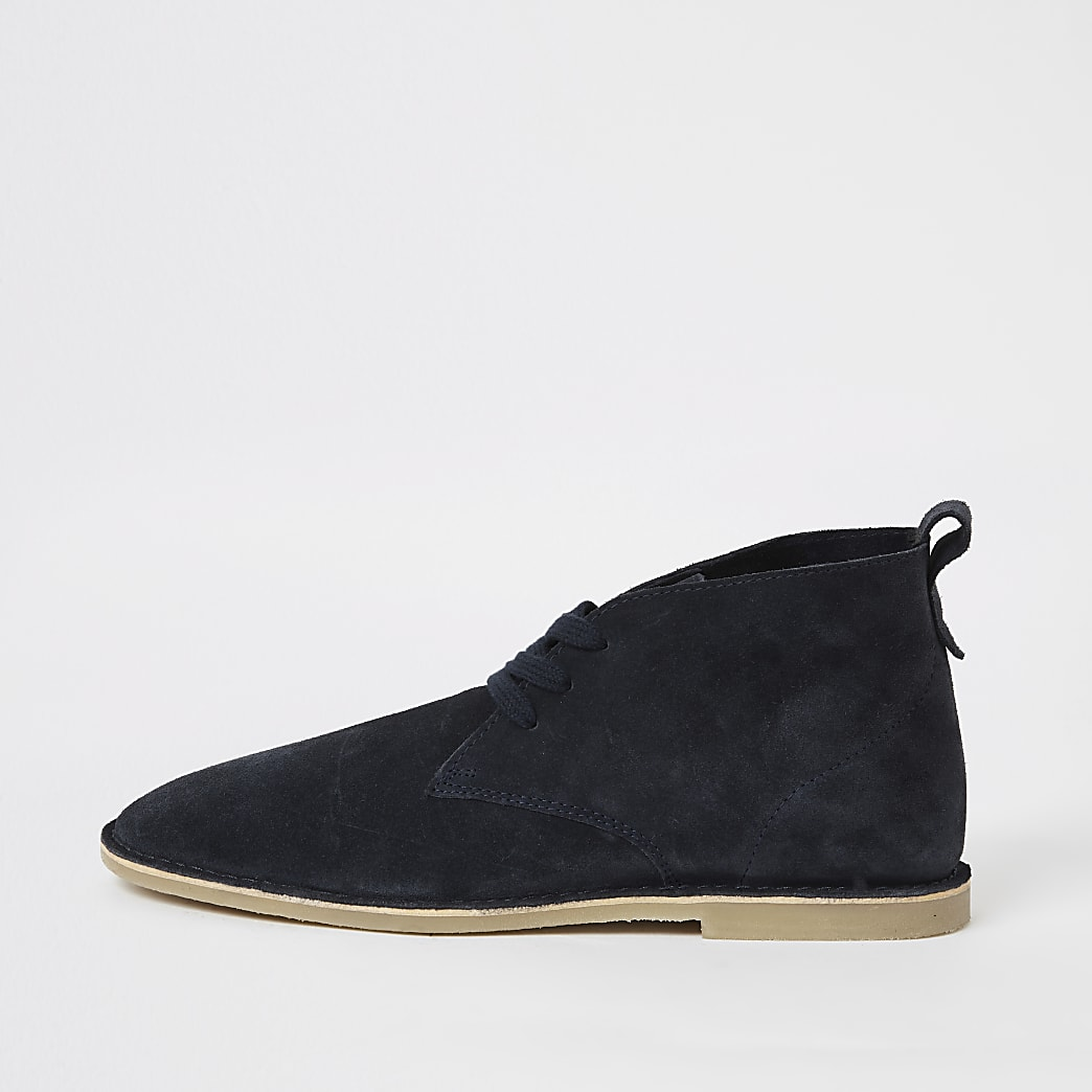 Navy suede lace-up desert boots