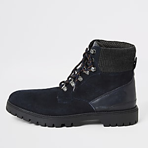 Navy suede lace-up hiking boots