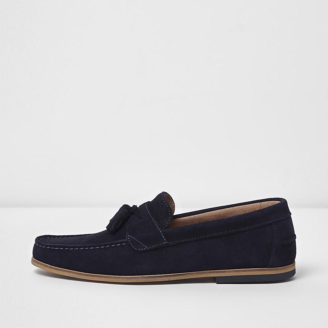 Navy suede tassel loafers