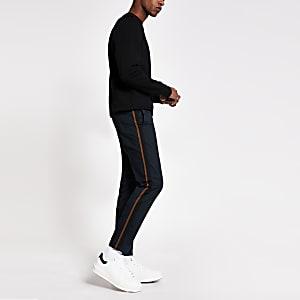 Sid– Pantalon chino skinny avec bande latérale bleu marine