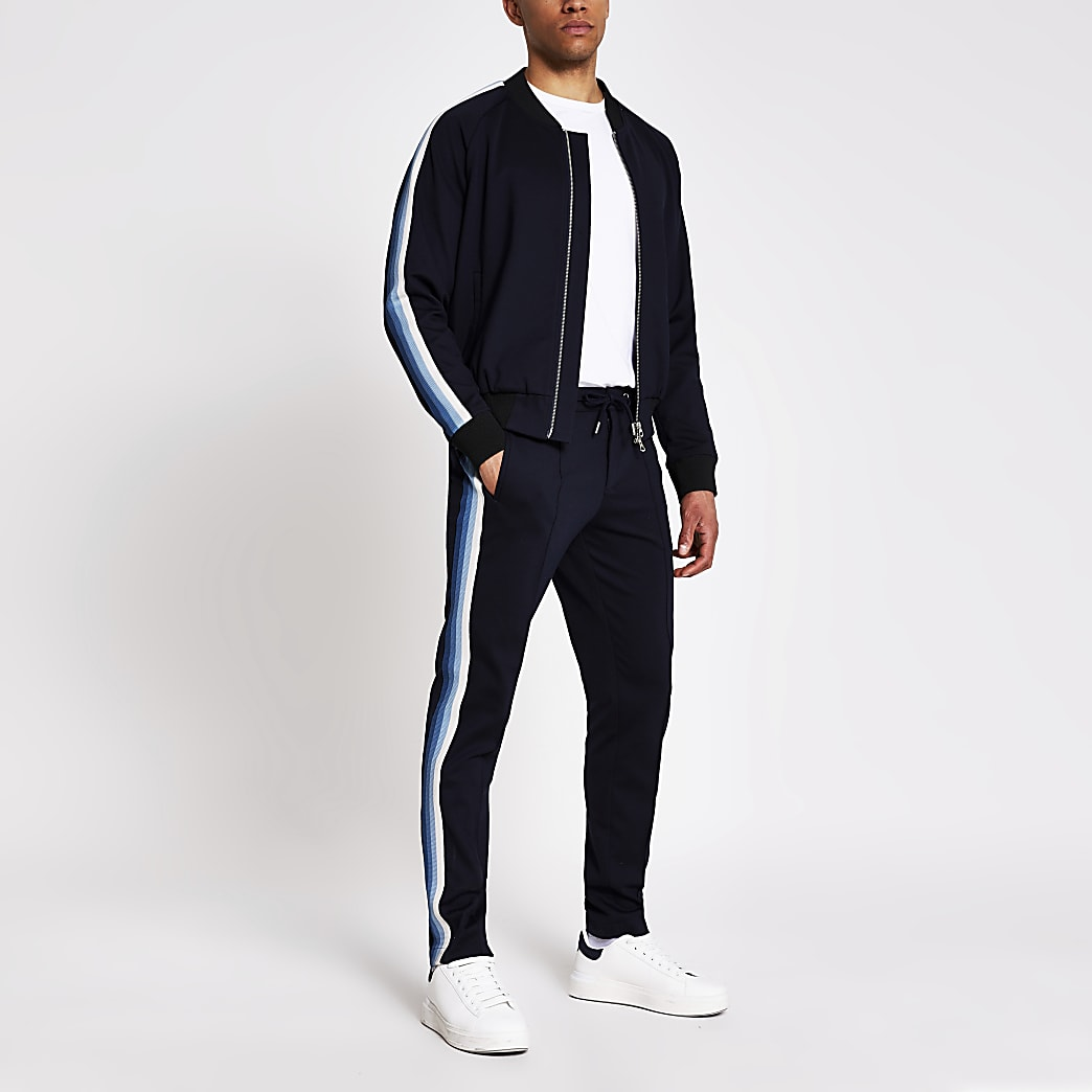 Navy tape side skinny joggers