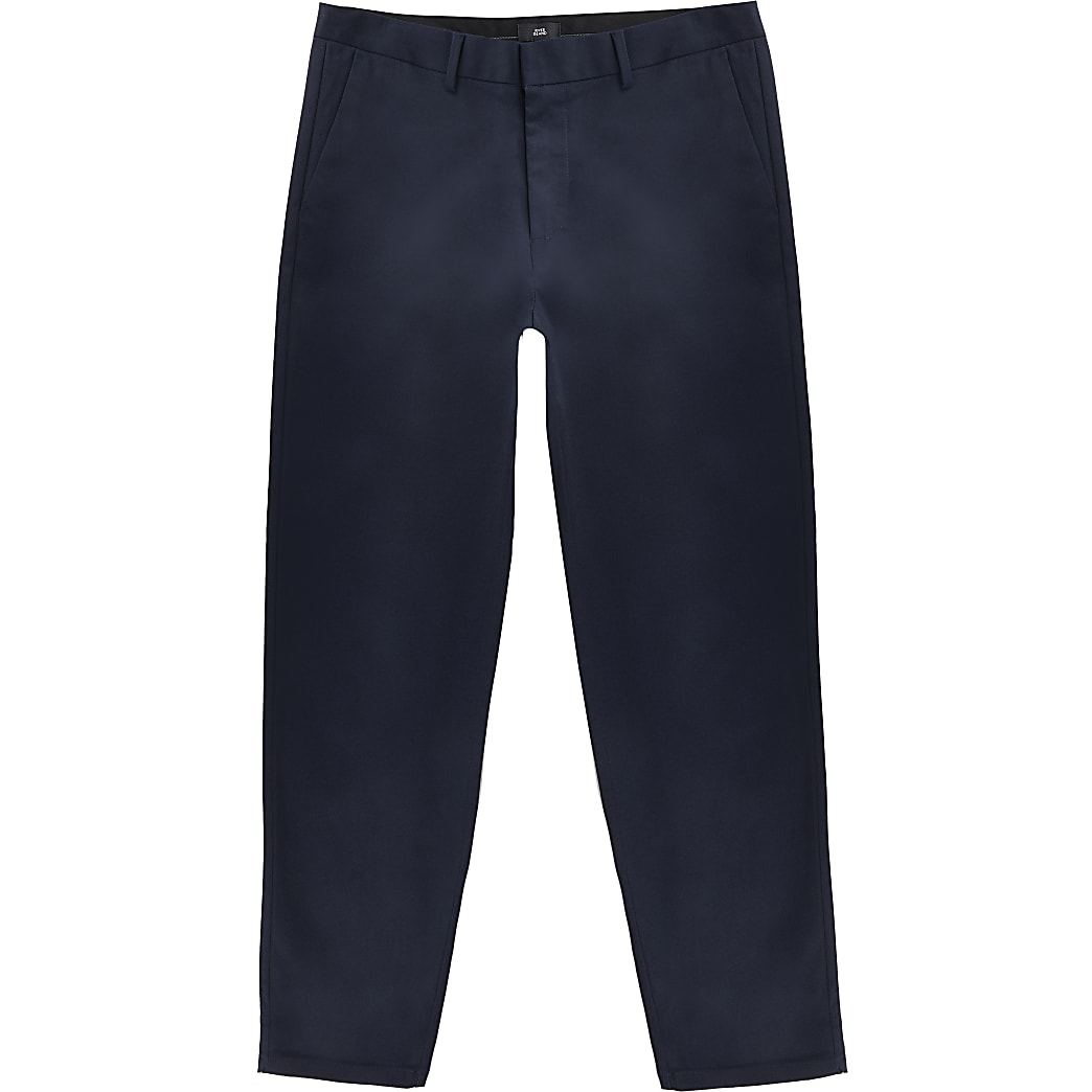 Navy tapered chinos