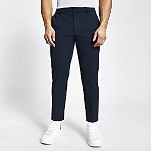 Marineblaue Twill-Hose mit zulaufendem Bein