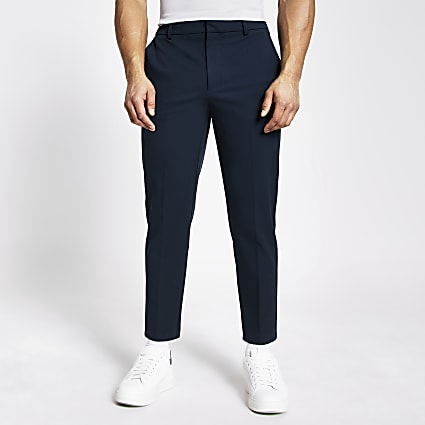 Navy tapered fit twill trousers