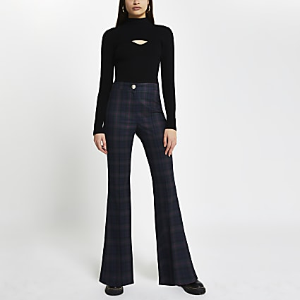 Navy tartan check flare trousers