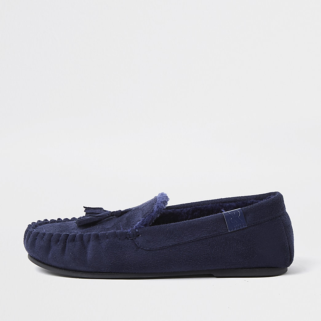 Navy tassel detail slippers