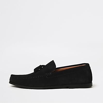 Navy tassel suede loafer