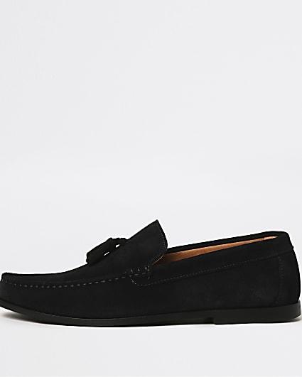 Navy tassel suede loafers