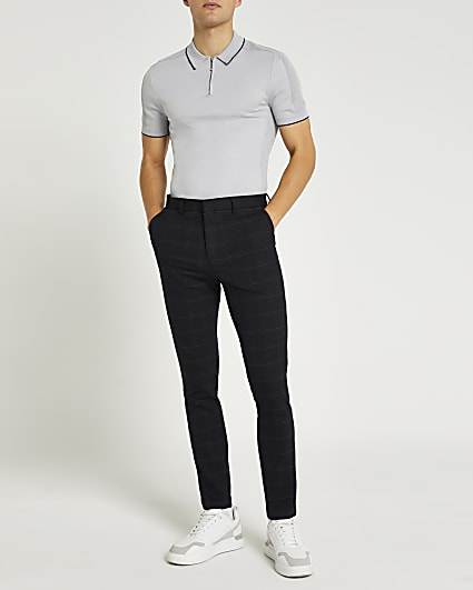 Navy textured check trousers