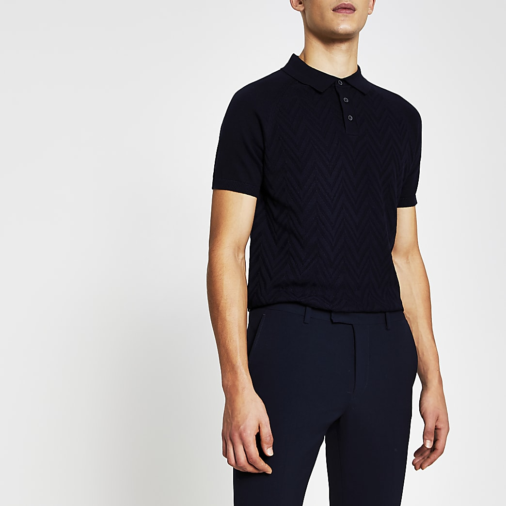 Navy textured knitted slim fit polo shirt