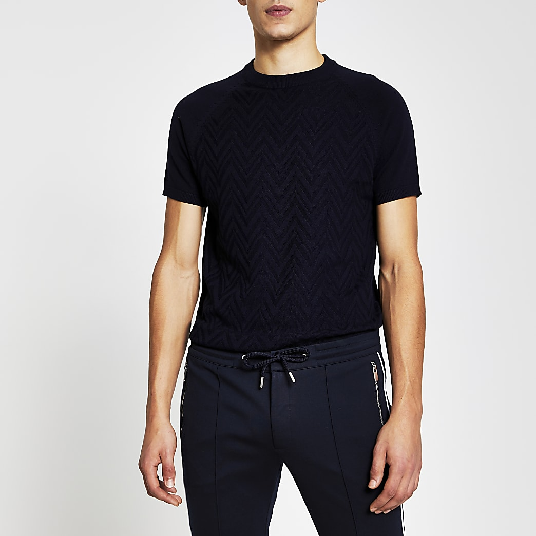 Navy textured knitted slim fit t-shirt